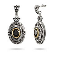 Renaissance Style Black Onyx Oval Drop Earrings