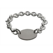 Designer Style Oval Tag Silver Bracelet