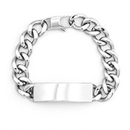 Engravable Men's Stainless Steel Curb Link ID Bracelet