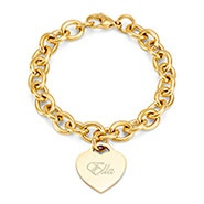 Gold Plated Heart Tag Bracelet