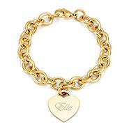 Designer Style Gold Plated Heart Tag Bracelet