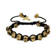 Champagne Shamballa Inspired Bracelet with Gold Cross