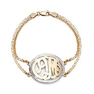 Gold Plated Two Initial Custom Monogram Bracelet