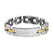 Men's Two Tone Watch Link Engravable ID Bracelet