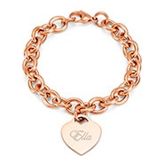 Designer Style Rose Gold Engraved Heart Tag Bracelet