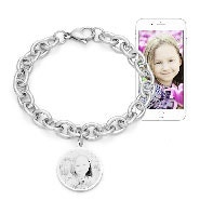 Stainless Steel Round Charm Photo Bracelet