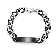 Men's Steel and Black Engravable ID Bracelet with Curb Links