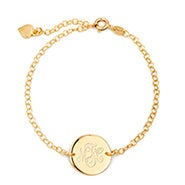 Engravable Monogram Gold Disc Bracelet