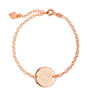 Engravable Monogram Rose Gold Disc Bracelet