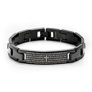 Engravable Black Lord's Prayer Bracelet