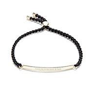 Engravable Gold Dipped Braided Black ID Bolo Bracelet
