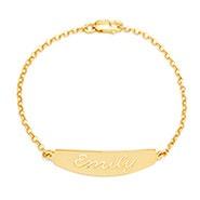 Custom Script Nameplate Gold Bracelet