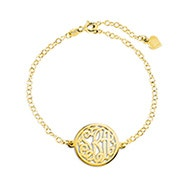 Custom Circle Monogram Gold Bracelet