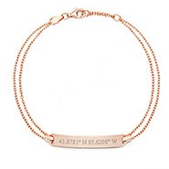 Custom Coordinate Rose Gold Name Bar Bracelet