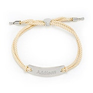 Engravable Bar Rope Bolo Bracelet in White and Silver