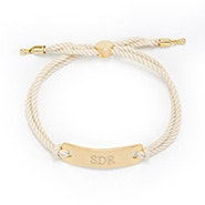 Engravable Bar Rope Bolo Bracelet in White and Gold