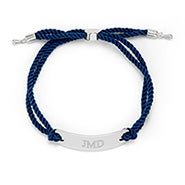 Engravable Bar Rope Bolo Bracelet in Blue and Silver