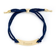 Engravable Bar Rope Bolo Bracelet in Blue and Gold