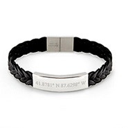 Custom Coordinate Men's Braided Leather ID Bracelet
