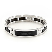 Men's Black and Steel ID Bracelet