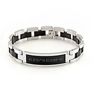 Custom Coordinate Men's Black and Steel ID Bracelet