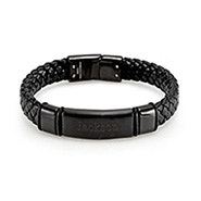 Chisel Men's Genuine Leather Matte Black ID Bracelet