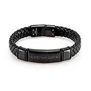 Custom Coordinate Chisel Men's Genuine Leather Matte Black ID Bracelet