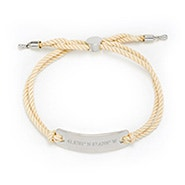 Custom Coordinate Bar Rope Bolo Bracelet in White and Silver