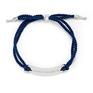 Custom Coordinate Bar Rope Bolo Bracelet in Navy and Silver