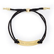 Roman Numeral Bar Rope Bolo Bracelet in Black and Gold