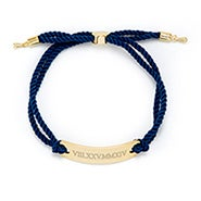 Roman Numeral Bar Rope Bolo Bracelet in Navy and Gold