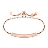Engravable Name Bar Rose Gold Bolo Bracelet