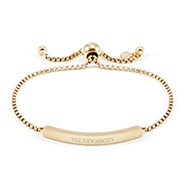 Roman Numeral Name Bar Gold Bolo Bracelet