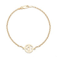Two Initial Block Monogram Gold Bracelet
