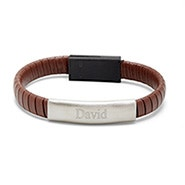Engravable Brown Leather USB Phone Cable Bracelet