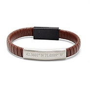 Custom Coordinate Brown Leather USB Phone Cable Bracelet