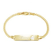 Engravable Baby ID Heart Gold Bracelet