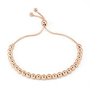 5mm Beaded Rose Gold Bolo Bracelet