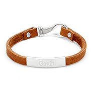 Engravable Men's ID Brown Leather Fish Hook Bracelet