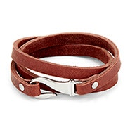 Men's Brown Leather Fish Hook Wrap Bracelet
