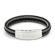 Engravable Men's Black Leather Braided Wire Bracelet