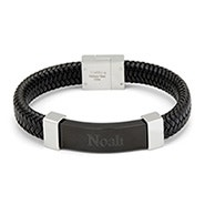 Engravable Men's Black ID Braided Leather Bracelet