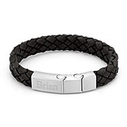 Engravable Men's Brushed Steel Black Leather Woven Bracelet