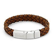 Engravable Men's Brushed Steel Brown Leather Woven Bracelet