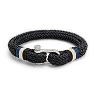 Men's Woven Black Cotton Shackle Bracelet