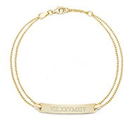 Roman Numeral Name Bar Gold Bracelet