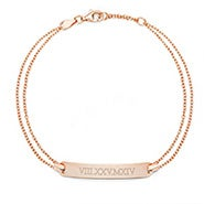 Roman Numeral Name Bar Rose Gold Bracelet