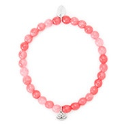 Pink Jade Bracelet with Lotus Charm