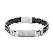 Engravable Men's Black Braided Leather ID Bracelet