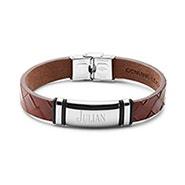 Engravable Men's Brown Woven Leather ID Bracelet